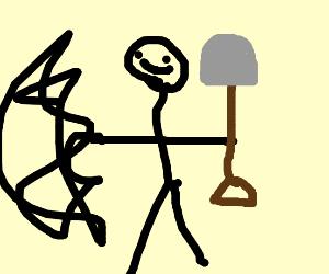 Tiny deformed dude holds a shovel
