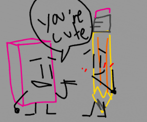 Eraser girl saying pencil dude is cute
