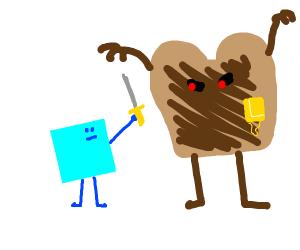 Square hero fights evil toast