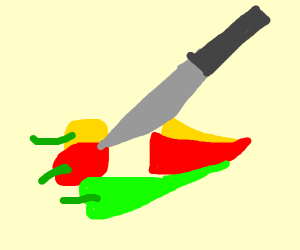 knife cutting chile peppers