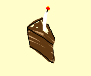Slice of chocolate cake with a candle on it