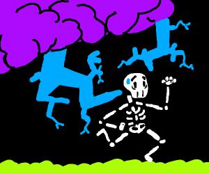 Skeleton getting hit by blue lightning