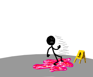 Black Stick Figure slips in a Puddle of Pink