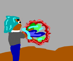Casting Blue Flame through a portal