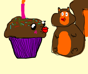 Squirrel kissing Cupcake