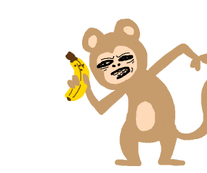 Scary monkey with banana