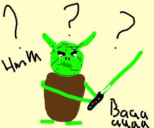 Curious Yoda the goat