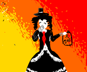 suicide bomber in black dress and top hat