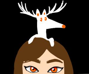Girl with White Deer-Fox on head