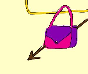 Handbag on a cord with an arrow in it