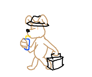 Dog going to work with a drink