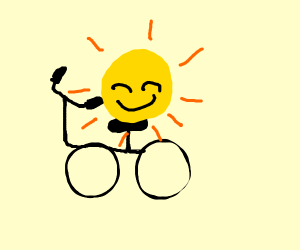 The sun riding a bicycle