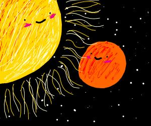 Mars next to the sun.