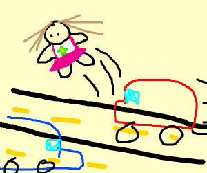 A Doll jumping over the Highway