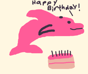 pink dolphin wishes you a happy birthday