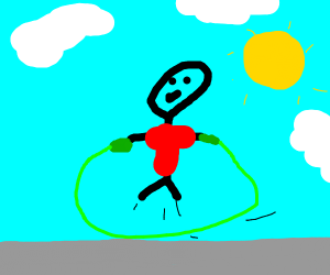 a child with a red shirt jumping rope