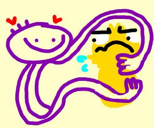 Purple guy loves Yellmo, Yellmo is confused