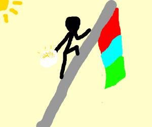 A guy with sunny-side-up egg climbs a flag