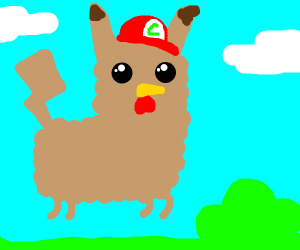 Llama-chicken-Pikachu with Ash's hat