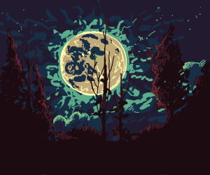 Forest at full moon
