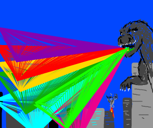 Godzilla destroys city with rainbow
