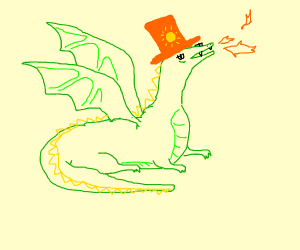 dragon wearing orange sun hat