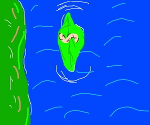 Worm rafting down a river on a leaf