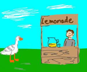 A goose walking up to a lemonadestand