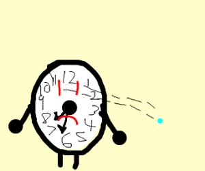 Sad clock sees mini blue dot