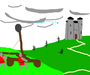 sieging a castle with a catapult