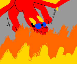 Dragon jumping into a fire