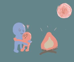Blue man hugging pink-orangey person
