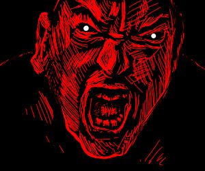 Evil face in darkness