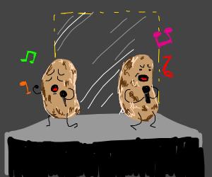 Two potato-men singing karaoke