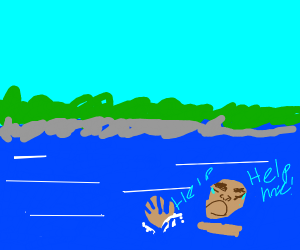 Drowning guy screaming for help