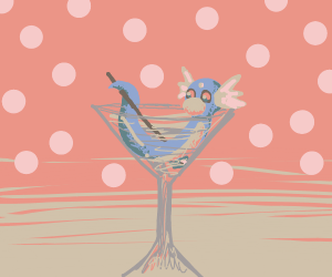 a Dragon Pokemon in an alcohol filled glass