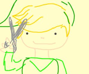 link giving himself a haircut
