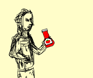 Man holding ketchup