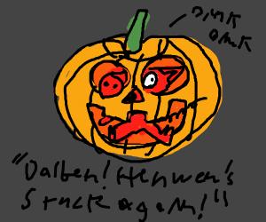 A pig in a pumpkin