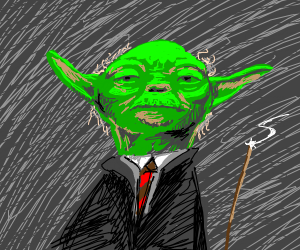 Yoda but as a Harry Potter wizard