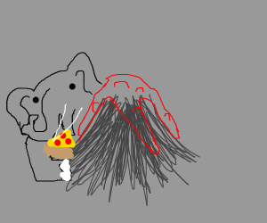an elephant behind a volcano eating pizza