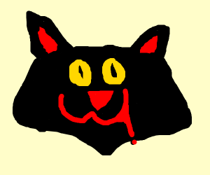 Creepy yellow-eyed cat
