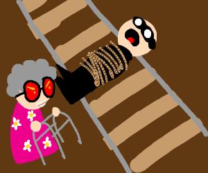 Evil grandma captures robber