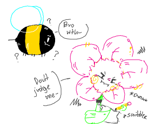 Bee confused by artsy flower