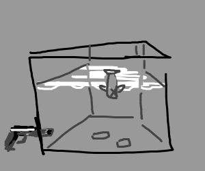 water tank with two bullets and a dead fish