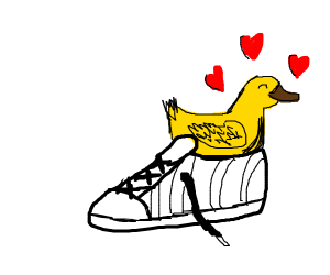 Duck in a sneaker surrounded by hearts