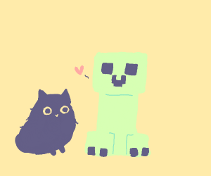 Creeper likes black kitties !