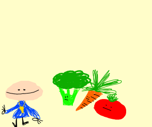 short man with a whistle and vegetables