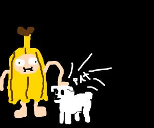 Banana guy patting cute lil doggo