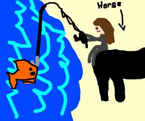 Fishing backwards on the horseback